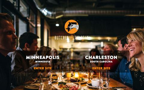 Screenshot of Home Page butcherandtheboar.com - Butcher & the Boar - American Craft Food. Bourbon. Beer. - Minneapolis, MN & Charleston, SC - captured Aug. 4, 2018