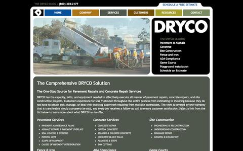 Screenshot of Services Page dryco.com - Pavement & Concrete Repair Services - SF Bay Area, Sacramento, Central Valley - captured Oct. 5, 2014