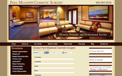 Screenshot of Contact Page parkmeadowscosmeticsurgery.com - Contact Park Meadows Cosmetic Surgery | Denver Plastic Surgeon - captured Sept. 27, 2014
