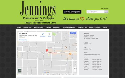 Screenshot of Contact Page jenningsfurniture.com - Contact Jennings Furniture  in Ontario - captured Oct. 16, 2017