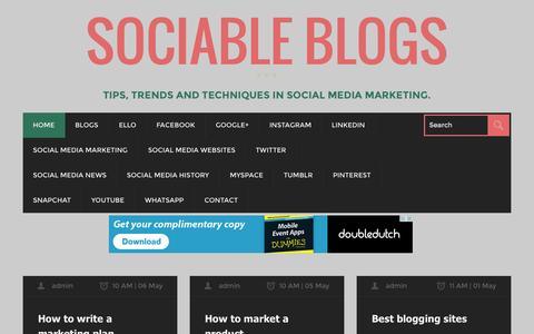 Screenshot of Home Page sociableblogs.com - Social Media marketing & Blogging tips for business SociableBlogs - captured Aug. 29, 2015
