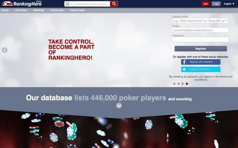 Screenshot of Home Page rankinghero.com - RankingHero, poker social network, blogs stats rankings results - captured July 2, 2017