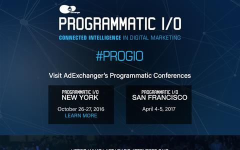 Screenshot of Home Page programmatic.io - PROGRAMMATIC I/O | AdExchanger's Programmatic Conferences - captured Sept. 10, 2016