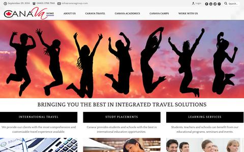 Screenshot of Home Page canavagroup.com - Canava Group | The Travel, Education & Camp Experts - captured Sept. 27, 2014