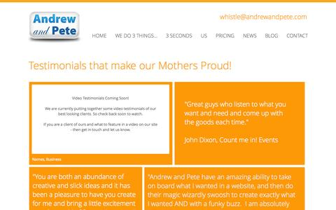 Screenshot of Testimonials Page andrewandpete.com - Testimonials for Andrew and Pete - captured Sept. 30, 2014