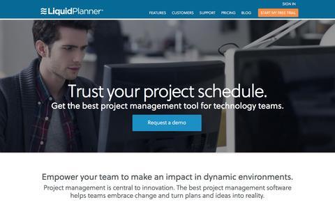 Screenshot of Home Page liquidplanner.com - Online IT Project Management Software | LiquidPlanner - captured Dec. 12, 2015