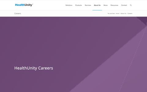 Screenshot of Jobs Page healthunity.com - HealthUnity Careers - captured Oct. 28, 2014