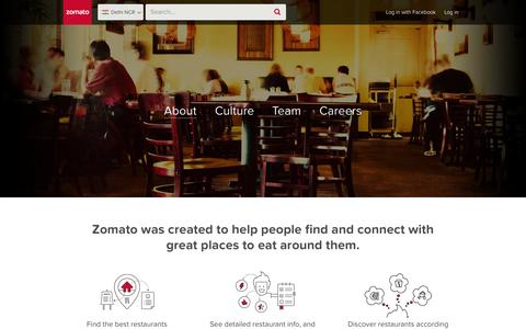 Screenshot of About Page zomato.com - About | Zomato - captured Sept. 17, 2014
