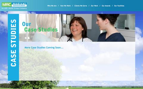 Screenshot of Case Studies Page mrcmedical.net - MRC Medical Communications | Medical Device Marketing & Strategy - captured Nov. 2, 2014
