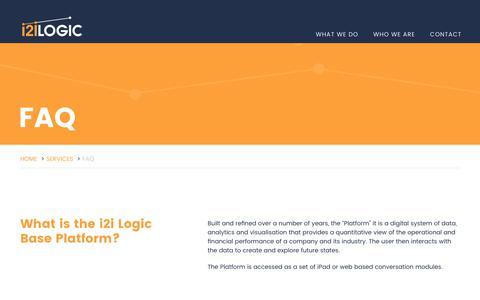 Screenshot of FAQ Page i2ilogic.com - i2i Logic | FAQ - captured June 8, 2017
