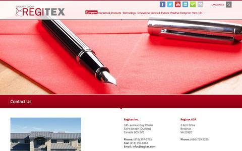 Screenshot of Contact Page regitex.com - Contact Us » Regitex - captured Oct. 7, 2014