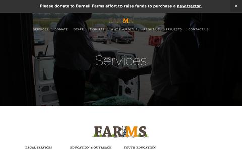 Screenshot of Services Page 30000acres.org - Services — www.30000acres.orgF.A.R.M.S.Services - captured Feb. 9, 2016