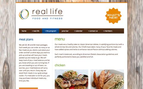 Screenshot of Menu Page reallifefoodandfitness.com - healthy food menu - weight loss rochester ny - captured Oct. 26, 2014