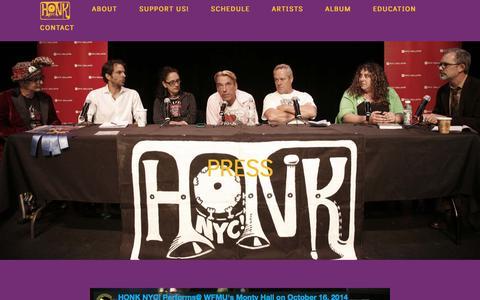 Screenshot of Press Page honknyc.com - Press • HonkNYC - captured Jan. 29, 2018
