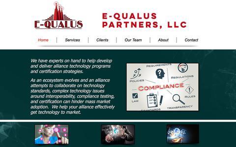 Screenshot of Home Page e-qualus.com - Engineering Consultant | E-Qualus Partners, LLC - captured Sept. 25, 2018