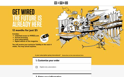 Screenshot of Landing Page wired.com - WIRED Student Subscription - captured Aug. 27, 2018
