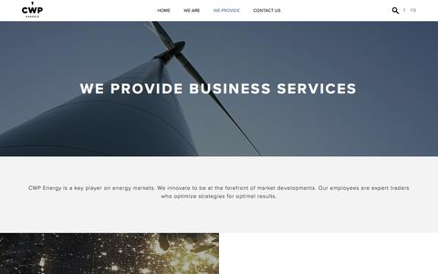 Screenshot of Services Page cwpenergy.com - Business Services - CWP Energy - captured July 15, 2018