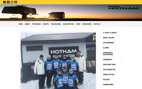 Screenshot of Team Page mhrs.org.au - Leadership - Mount Hotham Racing Squad - captured Oct. 21, 2017