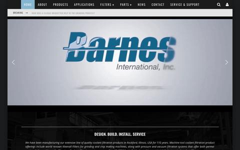 Screenshot of Home Page barnesintl.com - Barnes International, Inc. - Engineered Solutions For Filtration Needs - captured Nov. 13, 2018