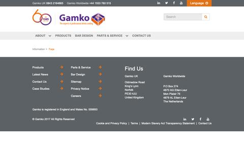 Screenshot of FAQ Page gamko.com - FAQs - captured Nov. 20, 2018