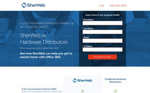 Screenshot of Landing Page sherweb.com - SherWeb vs. Hardware Distributors | SherWeb - captured June 24, 2016