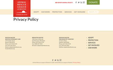 Screenshot of Privacy Page arlboston.org - Privacy Policy – Animal Rescue League of Boston - captured Oct. 3, 2018