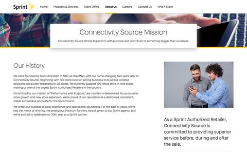Screenshot of About Page sprint.com - About Us | Connectivity Source - captured July 21, 2018
