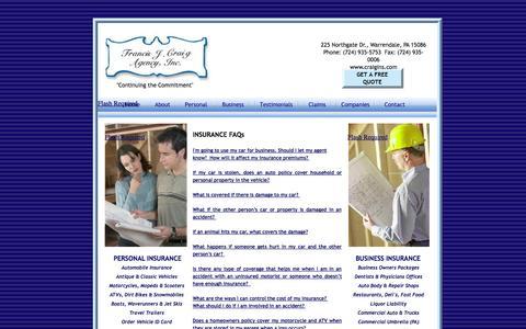 Screenshot of FAQ Page craigins.com - Francis J. Craig Insurance Agency - captured Oct. 6, 2014