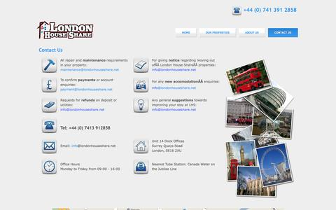 Screenshot of Contact Page londonhouseshare.net - Contact Us - captured May 21, 2017