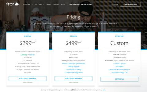 Screenshot of Pricing Page usefetch.io - Adam says… - captured July 8, 2018