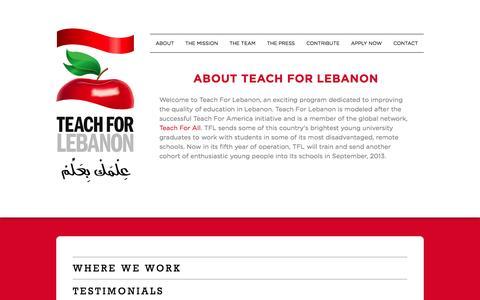 Screenshot of Testimonials Page teachforlebanon.org - Teach For Lebanon - captured Oct. 26, 2014