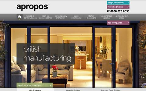 Screenshot of Home Page aproposconservatories.co.uk - Conservatories | Bespoke Orangeries Range | Apropos Conservatories - captured Sept. 10, 2015