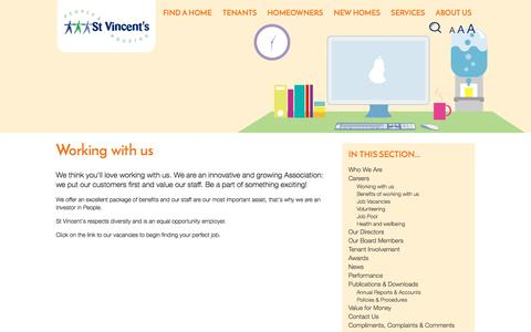 Screenshot of Jobs Page svha.co.uk - Working with us   About us   St Vincent's Housing Association Ltd - captured Dec. 1, 2016
