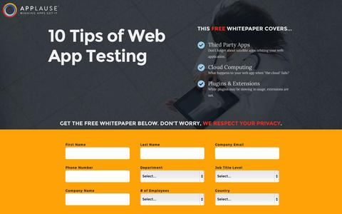 Screenshot of Landing Page applause.com - 10 Tips of Web App Testing - Applause: 360° App Quality - captured Oct. 27, 2014