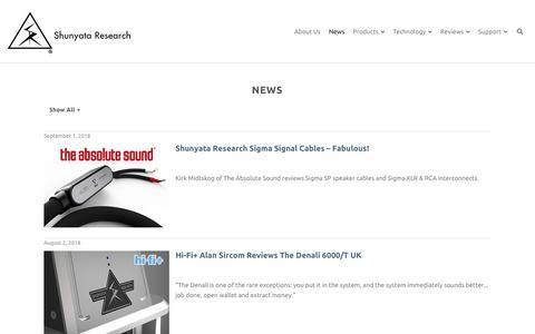 Screenshot of Press Page shunyata.com - News - Shunyata Research - captured Sept. 25, 2018