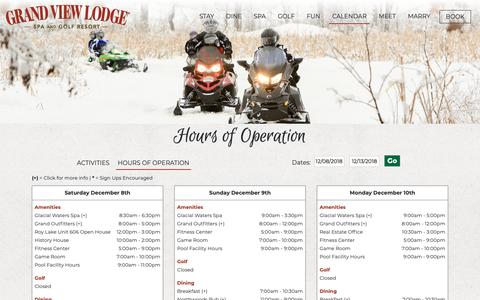 Screenshot of Hours Page grandviewlodge.com - Hours of Operation - captured Dec. 8, 2018
