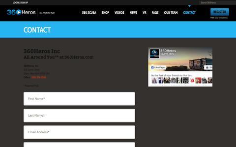 Screenshot of Contact Page 360heros.com - Contact | 360Heros | VR | Virtual Reality - captured Dec. 2, 2015