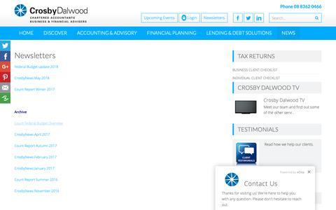 Screenshot of Press Page crosbydalwood.com.au - Newsletters | Crosby Dalwood | Accountants Adelaide - captured Sept. 30, 2018