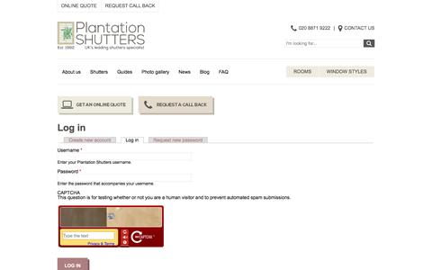 Screenshot of Login Page plantation-shutters.co.uk - Log in | Plantation Shutters - captured Jan. 29, 2016