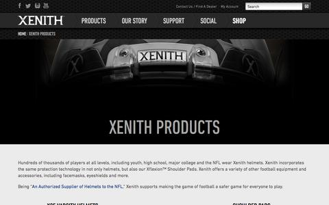 Screenshot of Products Page xenith.com - Football Equipment & Accessories | Xenith Products - captured Sept. 17, 2014