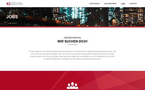 Screenshot of Jobs Page 42digital.de - Online Marketing Jobs - 42DIGITAL GmbH - captured Nov. 7, 2018