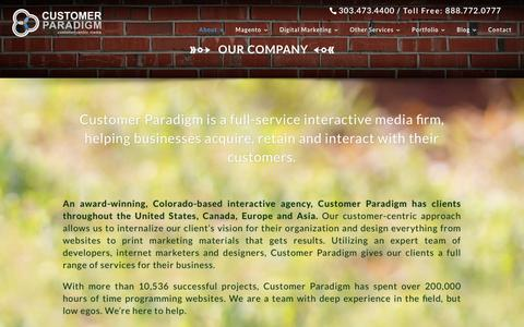 Screenshot of About Page customerparadigm.com - Customer Paradigm | About Us | Customer Paradigm - captured July 18, 2016