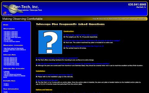 Screenshot of FAQ Page pier-tech.com - Telescope Pier Frequently Asked Questions - captured Jan. 28, 2016