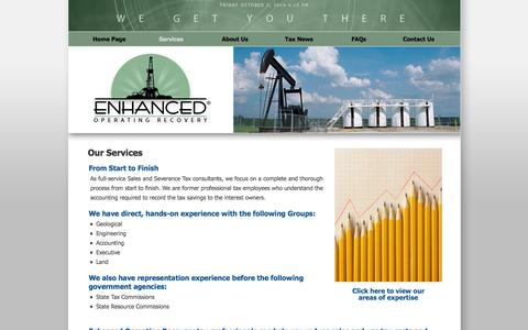 Screenshot of Services Page eortax.com - Enhanced Operating Recovery : Services - captured Oct. 3, 2014