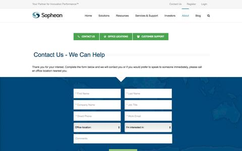 Screenshot of Support Page sopheon.com - Contact Sopheon - captured July 3, 2016