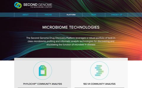 Screenshot of Services Page secondgenome.com - Second Genome   Microbiome Technologies - captured Jan. 17, 2018