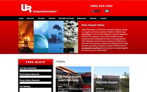 Screenshot of Home Page uniquerestoration.us - Unique Restoration :: Fire, Water, Mold and Wind Restoration for Insurance, Commercial and Residential customers :: www.unique-restoration.com - captured Sept. 21, 2018