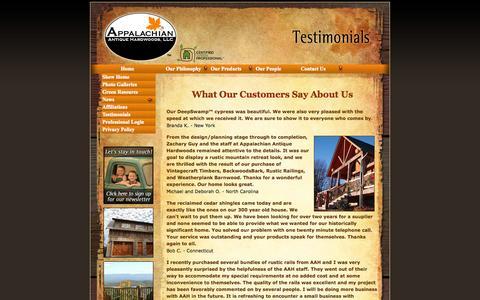 Screenshot of Testimonials Page aahardwoods.com - Testimonials about Appalachian Antique Hardwoods, LLC - captured Oct. 4, 2014