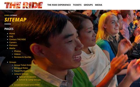 Screenshot of Site Map Page experiencetheride.com - Sitemap | THE RIDE - captured Nov. 2, 2014