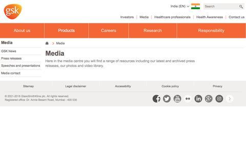 Screenshot of Press Page gsk.com - Media | GSK India - captured Sept. 23, 2018